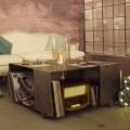 Boden Bio-Kamin und Modern Design Couchtisch aus Stahl - Christopher