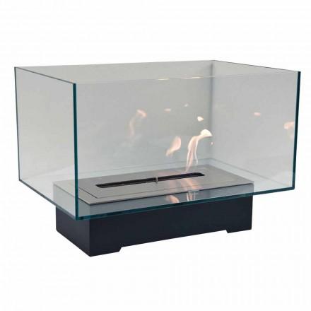 Moderner Designboden Bio-Kamin aus Glas und Stahl oder Corten - Bradley