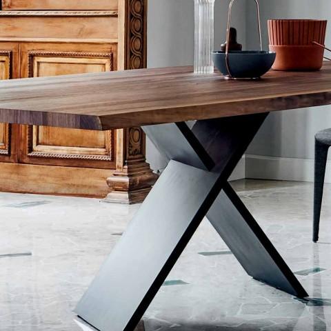 Bonaldo Ax Designtisch aus Holz mit natürlichen Kanten Made in Italy