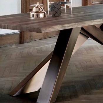 Bonaldo Big Table Massivholz Tisch natürliche Kanten in Italien hergestellt