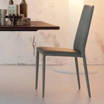 Bonaldo Eral moderner Designstuhl mit Lederbezug aus Italien