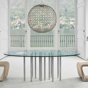 Runder Tisch Bonaldo Mille aus Kristall und verchromtem Stahl, hergestellt in Italien