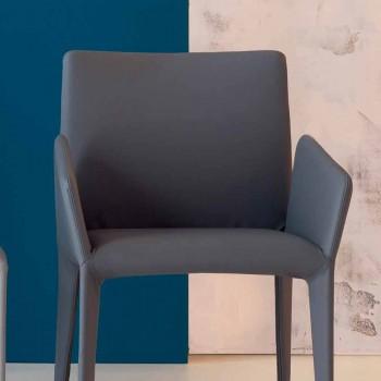Bonaldo Miss Filly gepolsterter Lederstuhl mit Armlehnen aus Italien