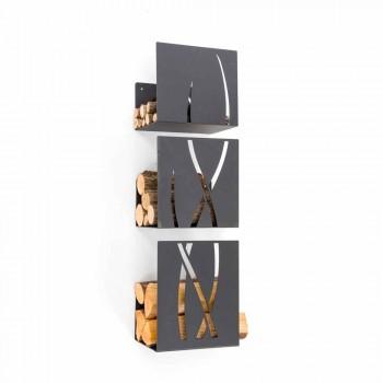 Caf Design Trio Brennholz Halter von Stahlwand hergestellt in Italien