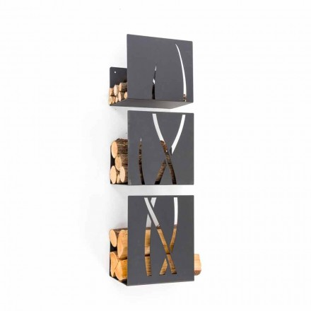 Modernes Design Wand Brennholzhalter aus schwarzem Stahl 3 Stück - Garigliano