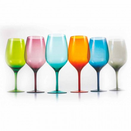 Weiß oder rot gefärbte Weingläser in Glas 3 Varianten 12 Stück - Aperi