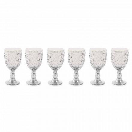 Transparente Glasweingläser mit arabesker Dekoration 12 Stück - Marokko