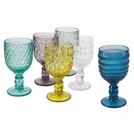 Farbige Glas dekorierte Becher Wasser oder Wein Service 12 Stück - Mix