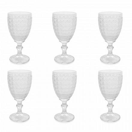 Weingläser in transparentem Glas und Reliefdekorationen, 12 Stück - Aperi