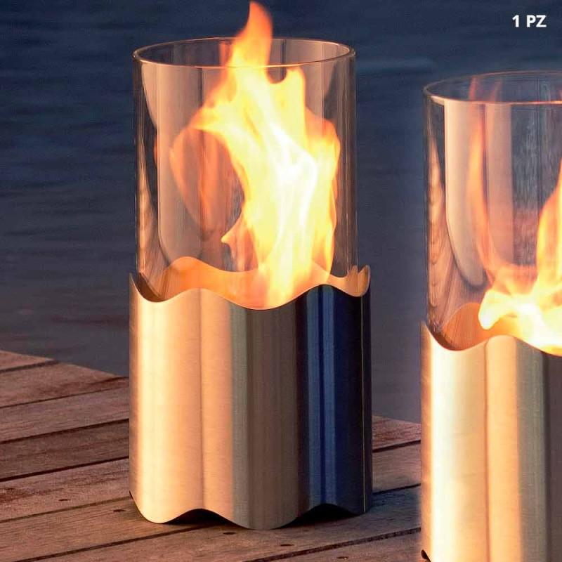 Bioethanol-Kamin mit Edelstahl-Tisch und Glas Leon, made in Italy