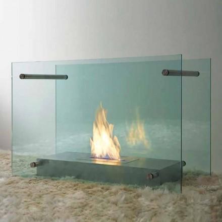 Boden Bioethanol Kamin in Glas und Stahl Design für Indoor - Edison