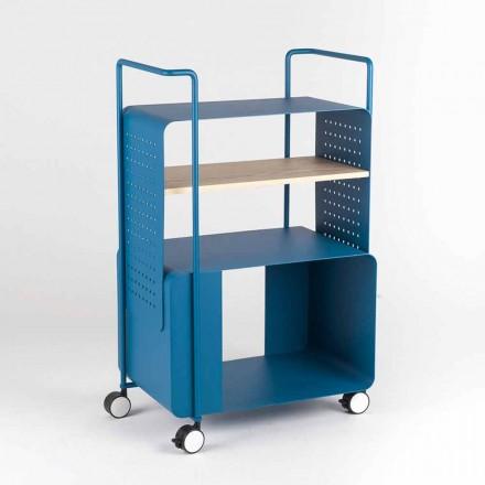 Designwagen aus Stahl mit Eschendeckel Made in Italy - Murella