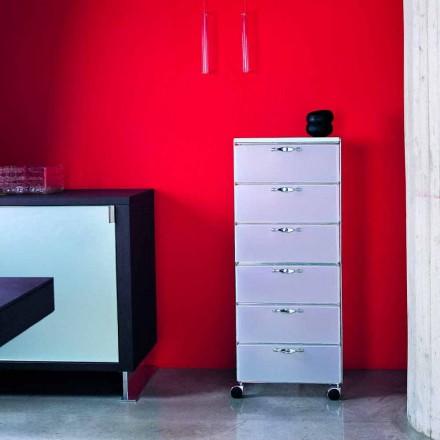 Design Kommode 6 Schubladen in weiß / grau Adamo Polypropylen