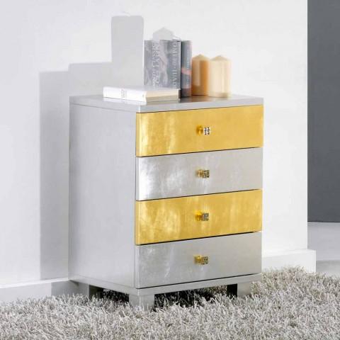 Kommode Silber Im Scandinavian Style Mit 4 Schubladen Gold Und