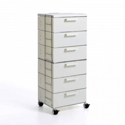 Moderne Kommode mit 6 weißen Perlmutt Schubladen und Valerie MDF Top