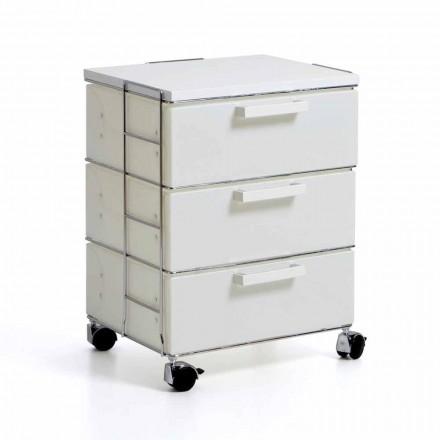 Moderne Kommode mit 3 weißen Schubladen und Valerie MDF-Top