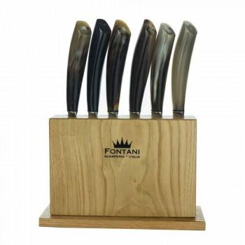 Block aus Olivenholz mit 6 Steakmessern Made in Italy - Block
