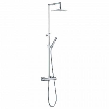 Duschsäule aus verchromtem Messing mit flexiblem Schlauch und Handbrause made in Italy - Griso