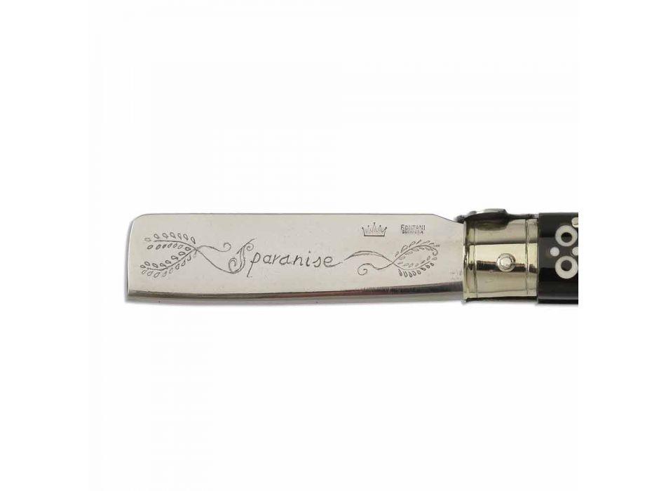 Antikes Büffelhornmesser mit silbernen Details Made in Italy - Klinge