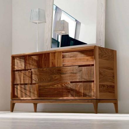 Kommode mit 3 Schubladen, massives Nussholz, modernes Design, Nino