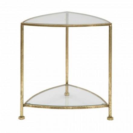 Dreieckiger Nachttisch mit modernem Design und 2 Regalen aus Eisen und Glas - Kira