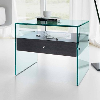 Nachttisch in modernem Design aus extra klarem Glas Made in Italy - Secret