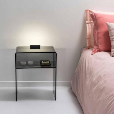 Getönter Nachttisch mit LED-beleuchtbarem Touch-Licht Adelia, made in Italy
