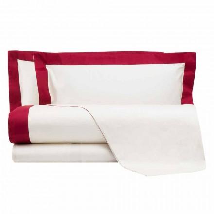 Satin Sheet Set für Doppelbett mit farbigen Kanten - Hyazinthe