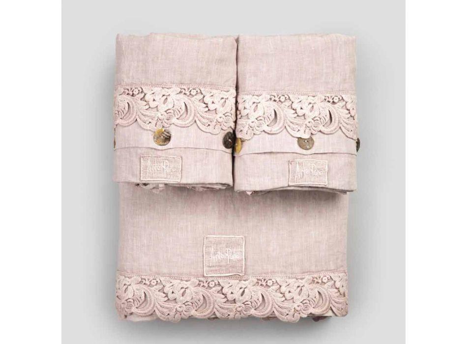Armonia 2 Color Sheet Set aus hellem Leinen und Spitze für Doppelbett - Dettox