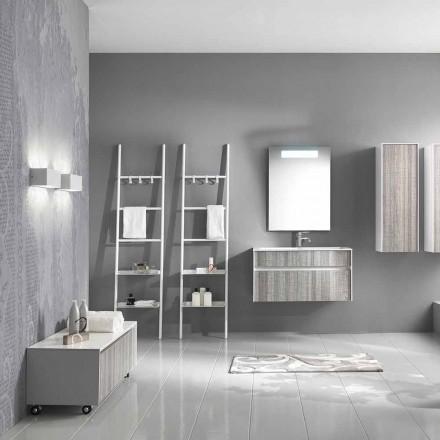 Hängende Badezimmerzusammensetzung Modernes Design Möbel Weiß und Holz - Rossana