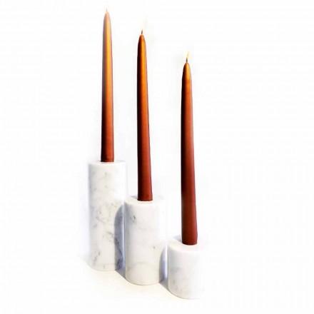 Zusammensetzung von 3 Kerzenhaltern aus weißem Carrara-Marmor Made in Italy - Astol