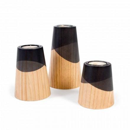 Zusammensetzung von 3 modernen Kerzenhaltern aus massivem Kiefernholz - Weiß