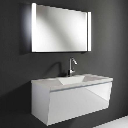 Weiße moderne hängende Badezimmermöbel-Zusammensetzung mit LED-Spiegel - Desideria
