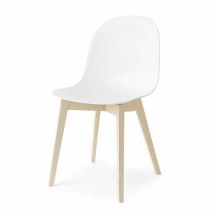 Connubia Calligaris Academy Basic Design Stuhl aus Massivholz, 2 Stück