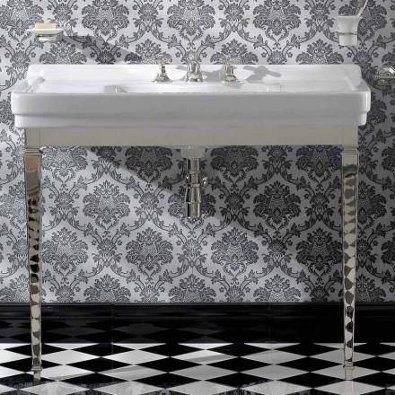105 cm Vintage weiße Keramik-Badezimmerkonsole mit Füßen, Made in Italy - Marwa