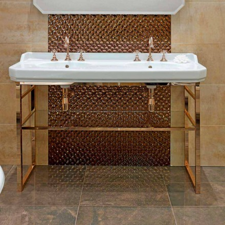 Badezimmerkonsole Vintage L 135 cm mit Doppelschale aus Keramik mit Füßen - Nausica