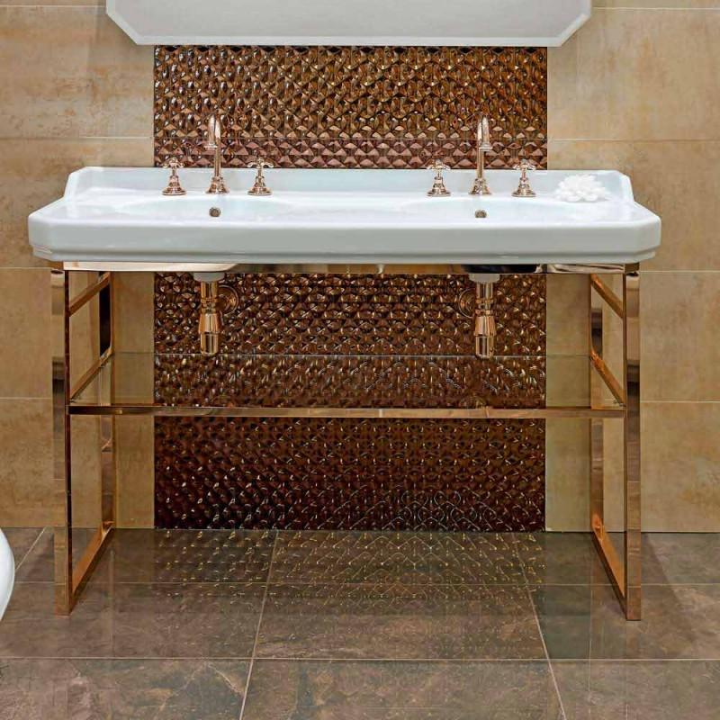 Badezimmerkonsole L 135 cm mit Doppelschale aus Keramik mit Füßen - Nausica