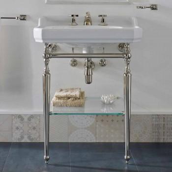 65 cm Keramik-Badezimmerkonsole mit Metallfüßen Made in Italy Nausica