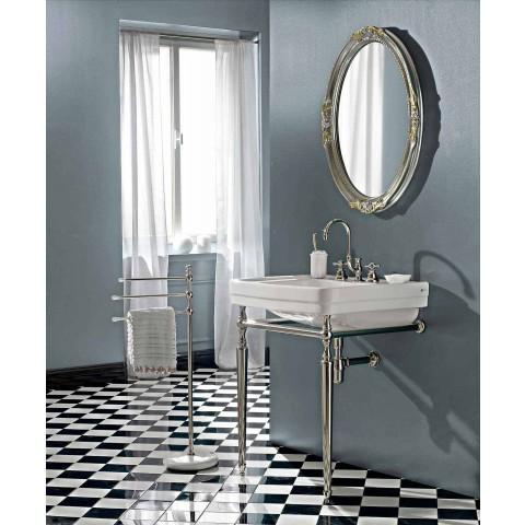 Badezimmerkonsole L69 cm auf den Füßen aus weißer Vintage-Keramik, hergestellt in Italien - Marwa