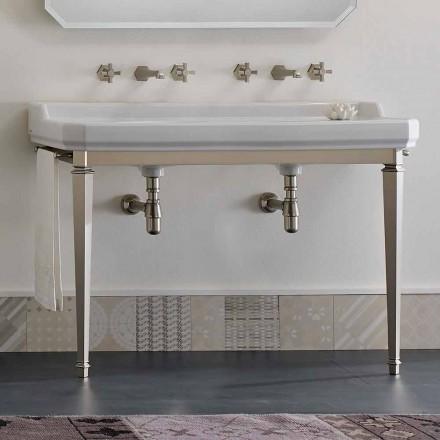 Badezimmerkonsole Vintage L 135 cm mit Doppelschale aus Keramik Made in Italy - Nausica
