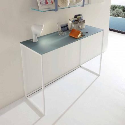 Metall Wohnzimmer Konsole mit Kristallplatte Made in Italy - Iridio