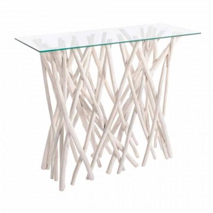 Consolle aus gebleichtem Teakholz und Luxus-Design-Glasplatte - Francesca