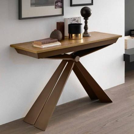 Tischkonsole aus Holz und Metall ausziehbar bis 295 cm Made in Italy - Timedio