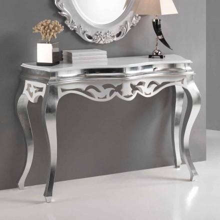 klassischer Konsolentisch in weiß und Silber Creti