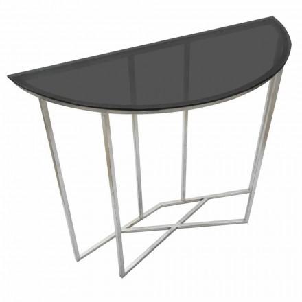 Halbkreis Consolle im modernen Stil aus Eisen und Glas - Augusta