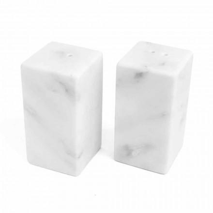Salz- und Pfefferbehälter aus weißem Carrara-Marmor Made in Italy - Julio