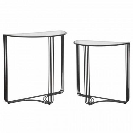 Paar moderne Designkonsolen aus Eisen und Glas - Ferdie