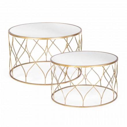 Paar runde Couchtische aus Glas und Stahl Homemotion - Amarillide
