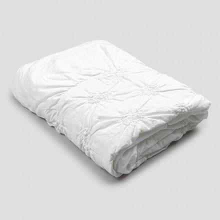 Queen Bettdecke aus Leinen und Baumwolle mit eleganter Luxusstickerei - Patrizio