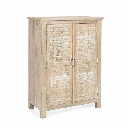 Hohes Sideboard in handverziertem Holz mit Messinggriffen Homemotion - Zotto